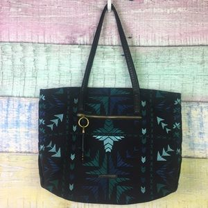 Lucky Brand Tribal Boho Embroidered Tote Leather